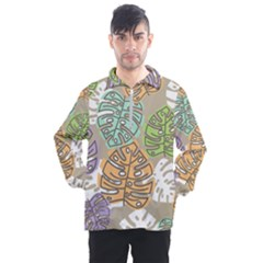 Pattern Leaves Banana Rainbow Men s Half Zip Pullover