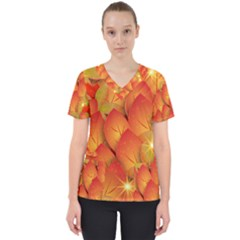 Pattern Texture Leaf Women s V Neck Scrub Top by HermanTelo