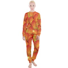 Pattern Texture Leaf Women s Lounge Set