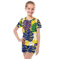 Pattern Leaves Grey Kids  Mesh Tee And Shorts Set