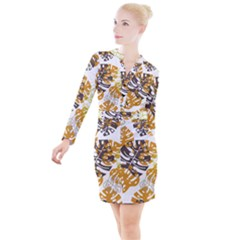 Pattern Leaves Button Long Sleeve Dress