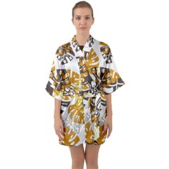Pattern Leaves Quarter Sleeve Kimono Robe by HermanTelo