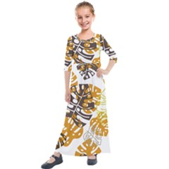 Pattern Leaves Kids  Quarter Sleeve Maxi Dress by HermanTelo