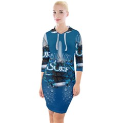 Sport, Surfboard With Water Drops Quarter Sleeve Hood Bodycon Dress by FantasyWorld7