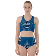 Sport, Surfboard With Water Drops Racer Back Bikini Set by FantasyWorld7