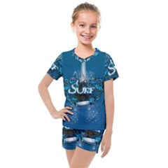Sport, Surfboard With Water Drops Kids  Mesh Tee And Shorts Set by FantasyWorld7