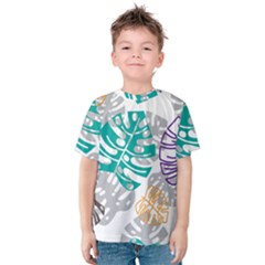 Pattern Leaves Rainbow Kids  Cotton Tee