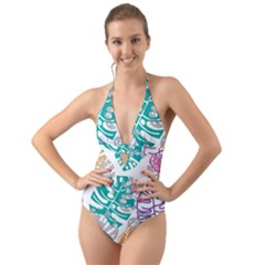 Pattern Leaves Rainbow Halter Cut Out One Piece Swimsuit