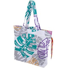 Pattern Leaves Rainbow Drawstring Tote Bag