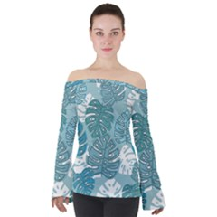 Pattern Leaves Banana Off Shoulder Long Sleeve Top