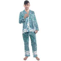 Pattern Leaves Banana Men s Satin Pajamas Long Pants Set