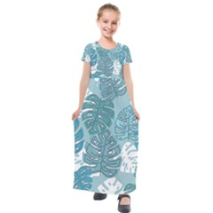 Pattern Leaves Banana Kids  Short Sleeve Maxi Dress by HermanTelo
