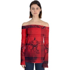 Awesome Creepy Skull With Crowm In Red Colors Off Shoulder Long Sleeve Top