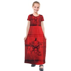 Awesome Creepy Skull With Crowm In Red Colors Kids  Short Sleeve Maxi Dress by FantasyWorld7