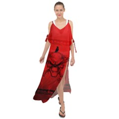 Awesome Creepy Skull With Crowm In Red Colors Maxi Chiffon Cover Up Dress