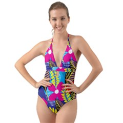 Pattern Leaf Polka Rainbow Halter Cut Out One Piece Swimsuit