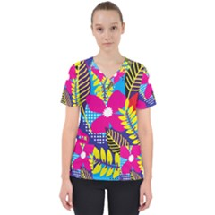 Pattern Leaf Polka Rainbow Women s V Neck Scrub Top by HermanTelo