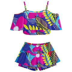 Pattern Leaf Polka Rainbow Kids  Off Shoulder Skirt Bikini