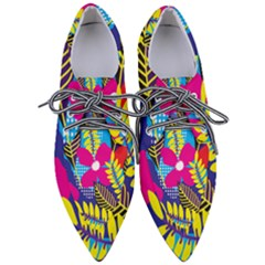 Pattern Leaf Polka Rainbow Pointed Oxford Shoes