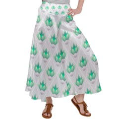Plant Pattern Green Leaf Flora Satin Palazzo Pants by HermanTelo