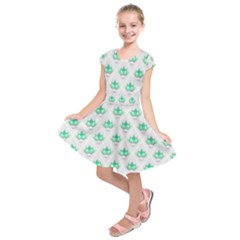 Plant Pattern Green Leaf Flora Kids  Short Sleeve Dress