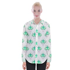 Plant Pattern Green Leaf Flora Womens Long Sleeve Shirt