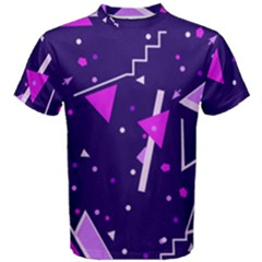 Purple Blue Geometric Pattern Men s Cotton Tee
