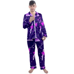 Purple Blue Geometric Pattern Men s Satin Pajamas Long Pants Set