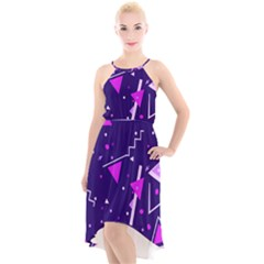 Purple Blue Geometric Pattern High Low Halter Chiffon Dress