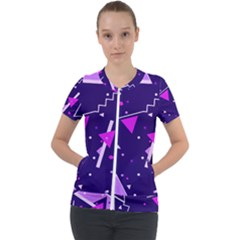 Purple Blue Geometric Pattern Short Sleeve Zip Up Jacket