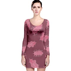 Plumelet Pen Ethnic Elegant Hippie Long Sleeve Velvet Bodycon Dress