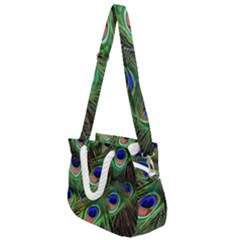 Peacock Feathers Plumage Iridescent Rope Handles Shoulder Strap Bag