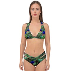 Peacock Feathers Plumage Iridescent Double Strap Halter Bikini Set