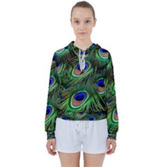Peacock Feathers Plumage Iridescent Women s Tie Up Sweat
