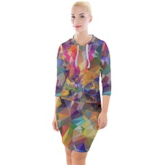 Polygon Wallpaper Quarter Sleeve Hood Bodycon Dress by HermanTelo