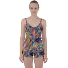 Polygon Wallpaper Tie Front Two Piece Tankini by HermanTelo