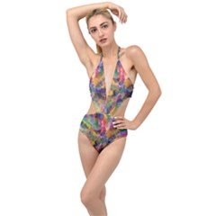 Polygon Wallpaper Plunging Cut Out Swimsuit