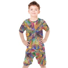 Polygon Wallpaper Kids  Tee And Shorts Set