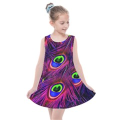 Peacock Feathers Color Plumage Kids  Summer Dress by HermanTelo