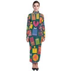 Presents Gifts Background Colorful Turtleneck Maxi Dress