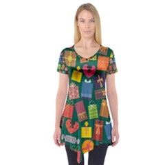 Presents Gifts Background Colorful Short Sleeve Tunic
