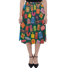 Presents Gifts Background Colorful Classic Midi Skirt