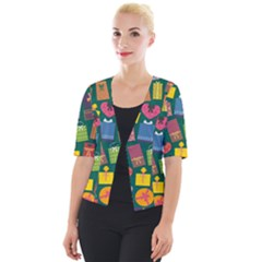 Presents Gifts Background Colorful Cropped Button Cardigan