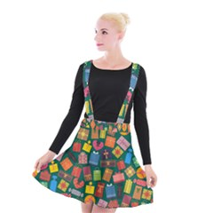 Presents Gifts Background Colorful Suspender Skater Skirt