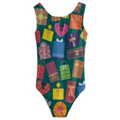 Presents Gifts Background Colorful Kids  Cut Out Back One Piece Swimsuit