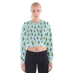 Pineapple Watermelon Fruit Lime Cropped Sweatshirt by HermanTelo