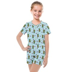 Pineapple Watermelon Fruit Lime Kids  Mesh Tee And Shorts Set