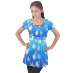 Sea Underwater Life Fish Puff Sleeve Tunic Top by HermanTelo