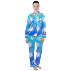 Sea Underwater Life Fish Satin Long Sleeve Pyjamas Set