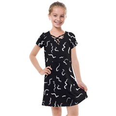 Scribbles Lines Painting Kids  Cross Web Dress